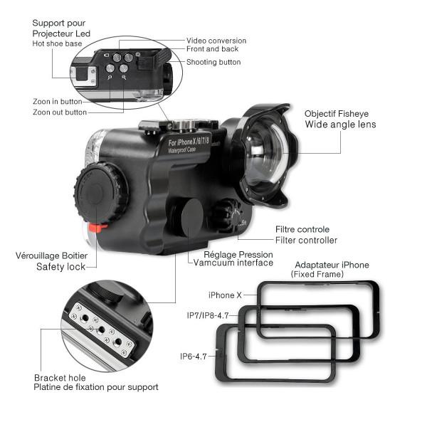 7 Funda de buceo compatible Para iPhone X/6/7/8 Bluetooth resistente al agua 60 metros